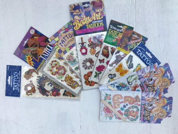 product details: ASST 1980S DEADSTOCK TEMPORARY TATTOOS - (KITTENS, OWLS, BEARS, DRAGONS, ETC) photo
