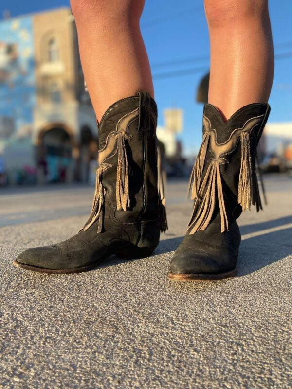 product details: AWESOME COWBOY BOOTS WITH FRINGE TASSELS AS-IS photo