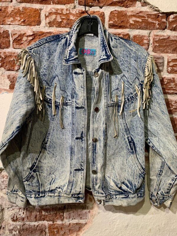 product details: 1980S ACID WASH DENIM JACKET SUEDE TASSELS SMALL FIT AS-IS photo