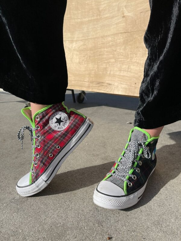 product details: PEACE ON EARTH MULTI-PATTERN HIGH-TOP CONVERSE photo