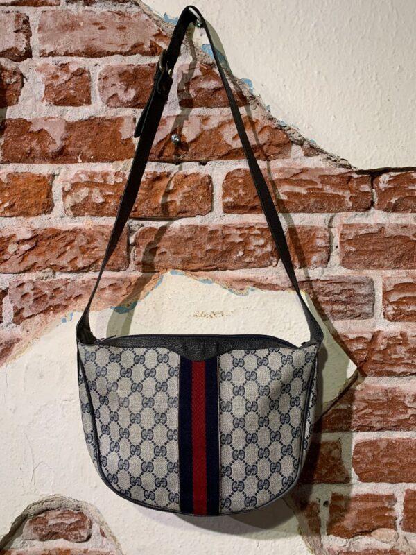 product details: RETRO FAUX GUCCI MONOGRAM SHOULDER BAG FRONT FABRIC STRIPE photo