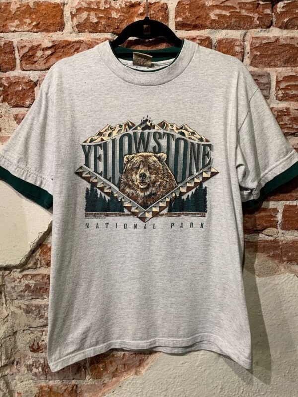 product details: 1998 YELLOWSTONE NATIONAL PARK BEAR GRAPHIC T-SHIRT W/ LAYERED TRIM photo