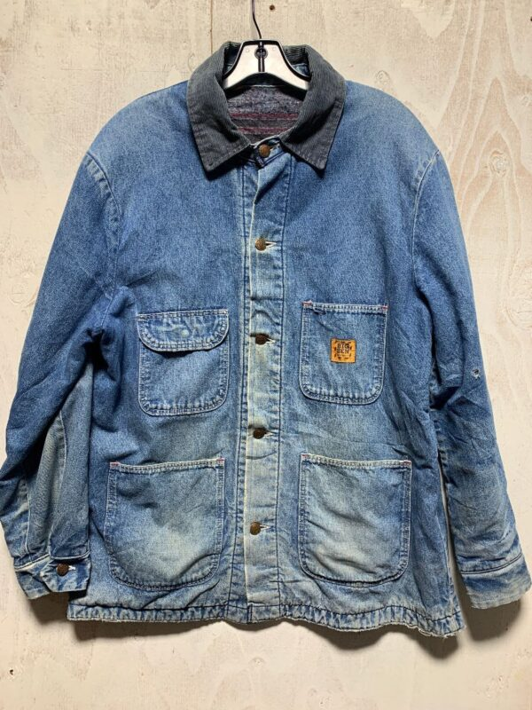 product details: HEAVILY DISTRESSED THICK DENIM WORKWEAR JACKET W/ WOOL BLANKET LINING AND CORDUROY COLLAR photo