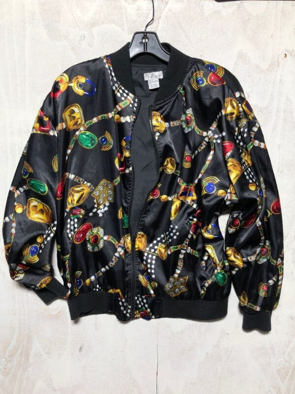 product details: RAD 1980S SILKY ALLOVER JEWEL PRINT ZIPUP BOMBER JACKET WITH SHOULDER PADS photo