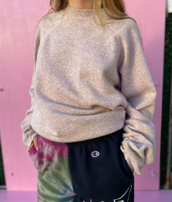 product details: FUN PINK HEATHER DISTRESSED CREWNECK SWEATSHIRT photo