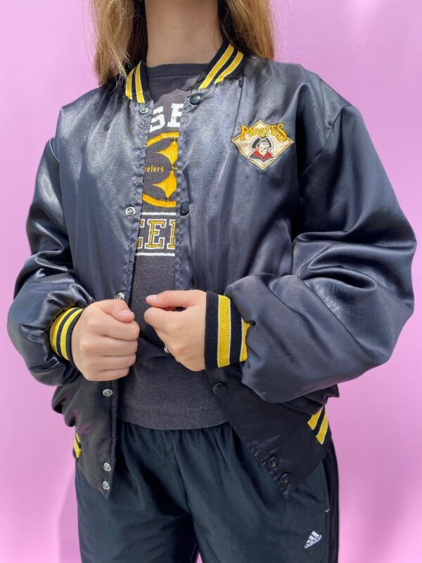 product details: PIRATES EMBROIDERED SATIN BOMBER JACKET- QUILTED INTERIOR LINING photo
