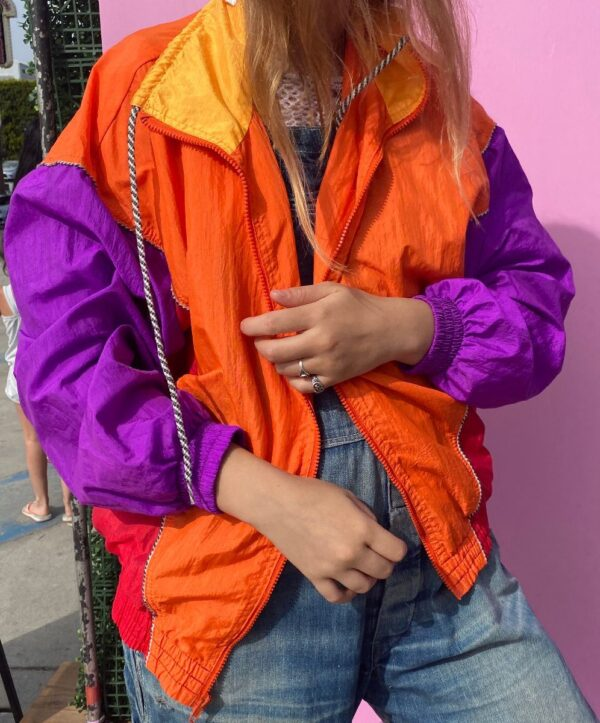 product details: BRIGHT NEON COLORBLOCK ZIP UP NYLON JACKET STRIPED DRAWSTRINGS SIDE POCKETS photo