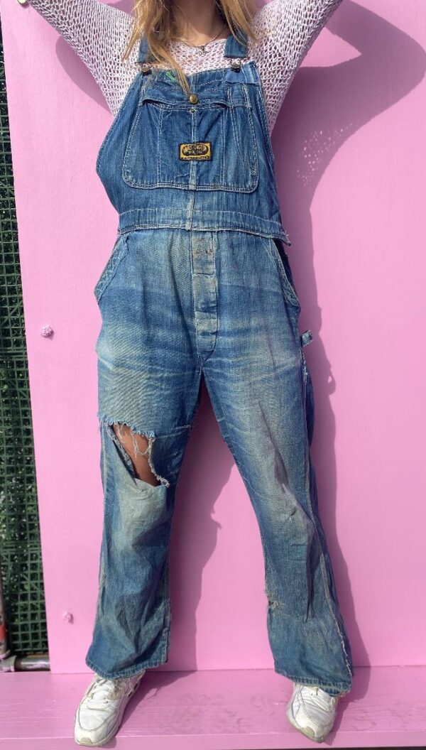 product details: AS IS- AMAZING & DESTROYED RIPPED BLUE JEAN WASHINGTON \\\\DEE CEE\\\\ PANT OVERALLS photo