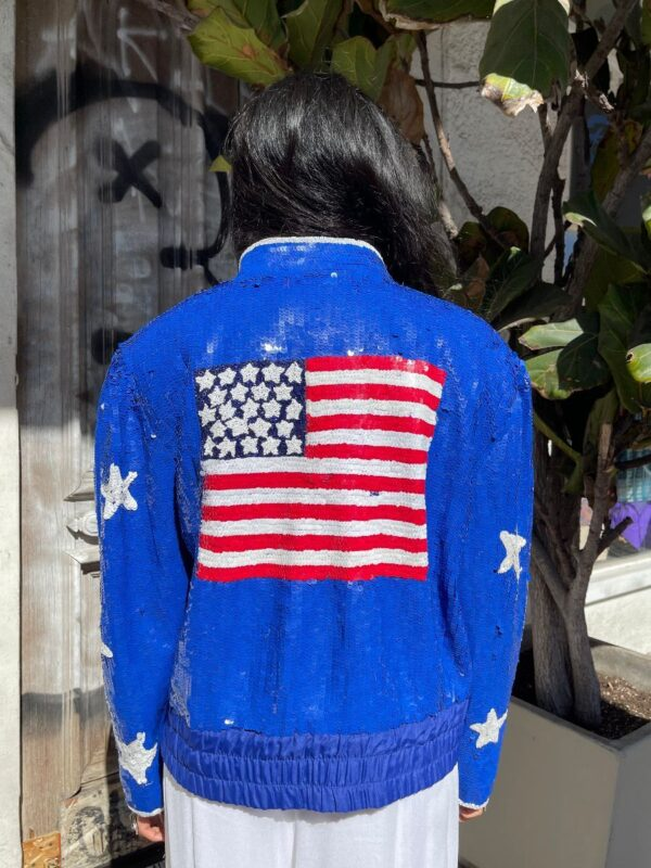 product details: FUN 1980S AMERICAN FLAG SEQUIN BOMBER JACKET #BRIGHT! photo