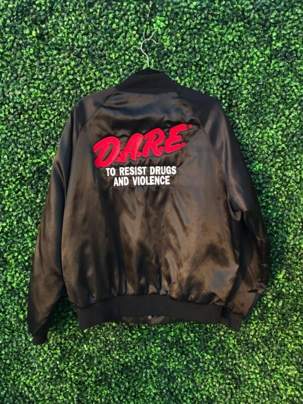 product details: D.A.R.E. EMBROIDERED SATIN BOMBER JACKET WITH QUILTED LINING DARE photo