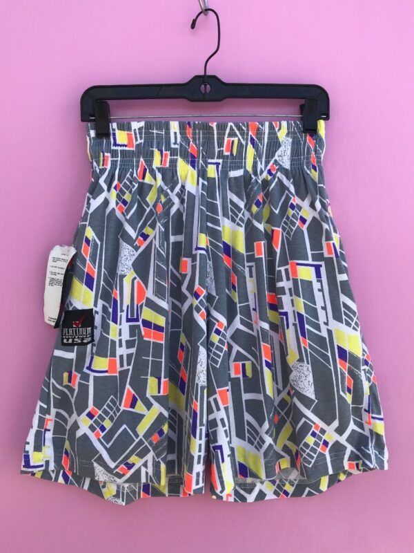 product details: DEADSTOCK NWT 1990S ABSTRACT PRINT COTTON SHORTS W/ DRAWSTRING WAIST photo
