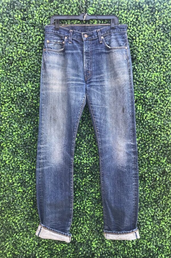 product details: LEVIS 501 DISTRESSED SELVEDGE LIGHT WASH HOLE IN CROTCH photo