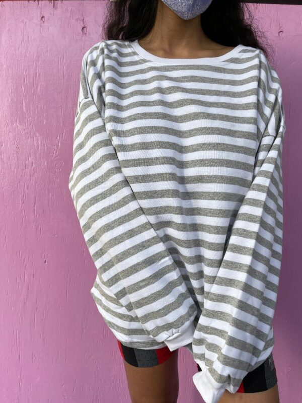 product details: 1990S DEADSTOCK LIGHT WEIGHT STRIPED SWEATER OVERSIZED BATWING CUT photo