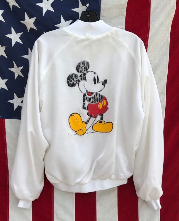 product details: 1980S SATIN MICKEY MOUSE SNAP UP JACKET WITH FRONT AND BACK GRAPHIC photo