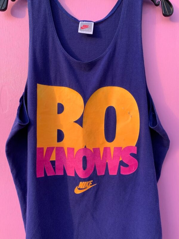 product details: NIKE GREY TAG BO KNOWS SPORT TANK TOP NEON GRAPHIC photo