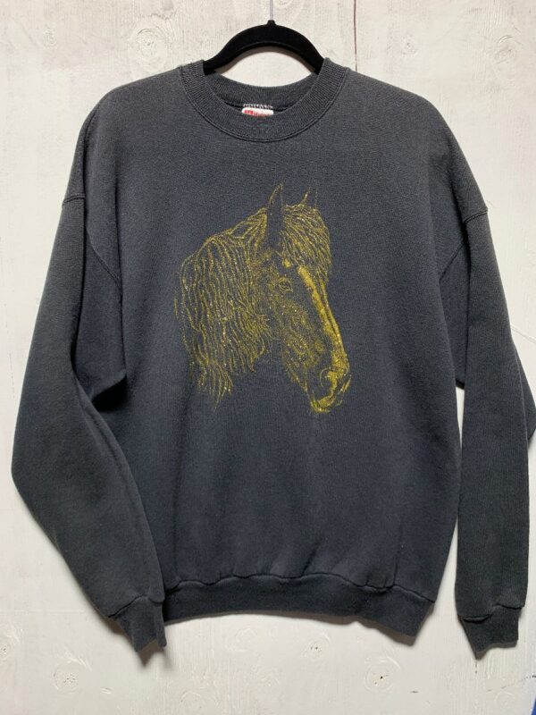 product details: 1980S GOLD GLITTER HORSE GRAPHIC SUPER SOFT CREWNECK SWEATSHIRT photo