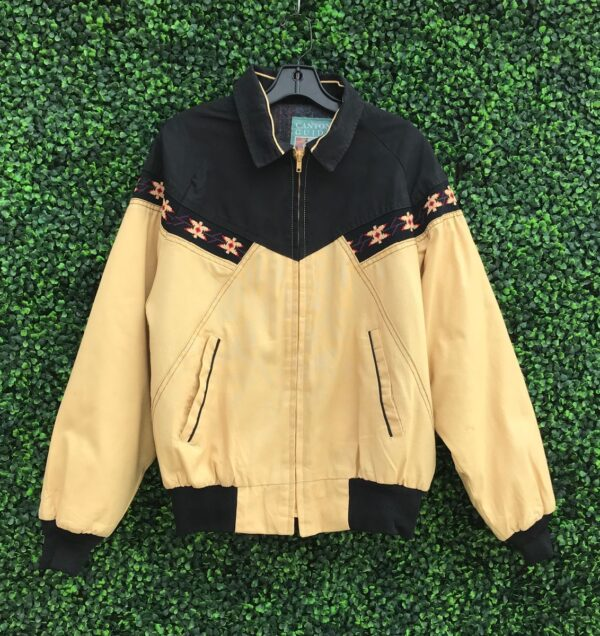 product details: CANVAS ZIP-UP JACKET WITH TRIBAL PATTERN INLAY AND WOOL INTERIOR photo