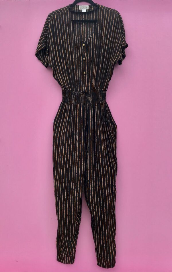 product details: FUN 1990S WAVY STRIPED ELASTIC WAIST SHORT-SLEEVE BUTTON-UP JUMPSUIT WITH SHOULDER PADS AND POCKETS photo