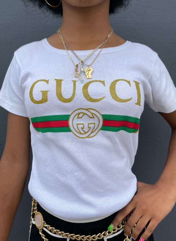 product details: ADORABLE BOOTLEG GUCCI PRINT RIBBED BABY TEE SCOOP NECK photo