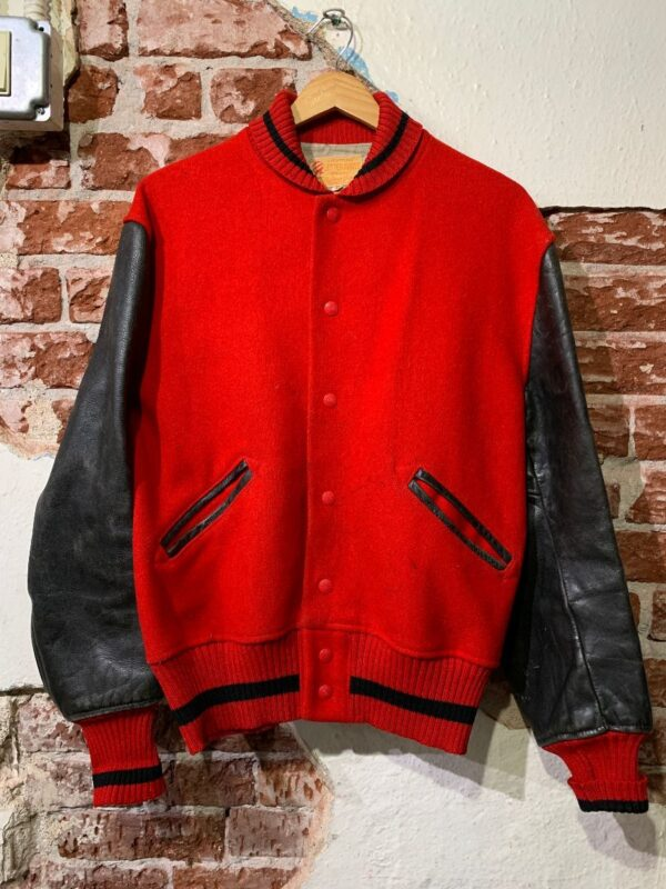 product details: AS IS – 1960S WOOL & LEATHER TWO TONE LETTERMAN VARSITY JACKET STRIPED TRIM photo