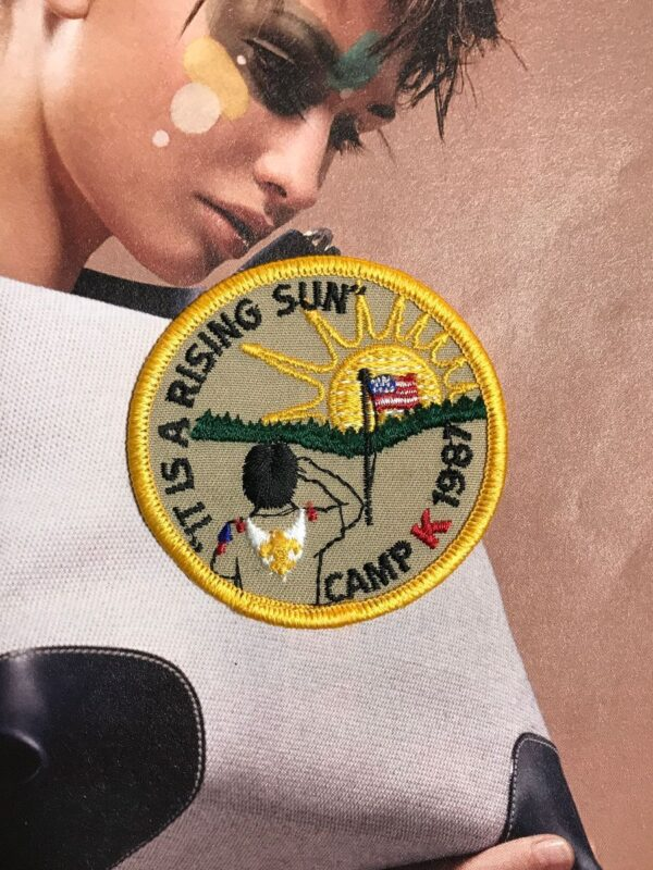 product details: SCOUT ITS A RISING SUN CAMP K 1987 PATCH photo