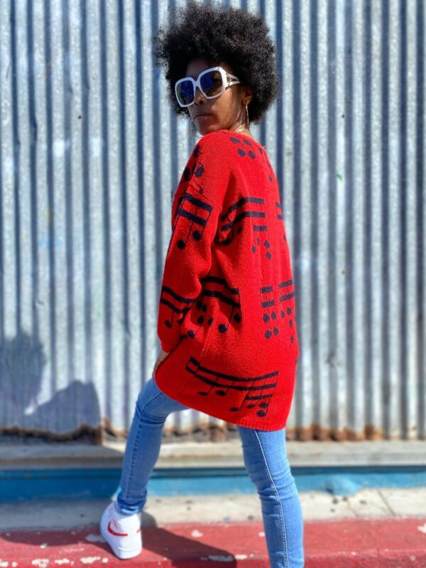 product details: ADORABLE 1980S MUSIC NOTE KNIT SWEATER LONGER CUT photo