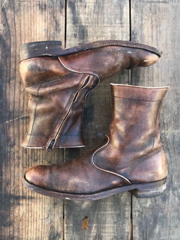 product details: BEAUTIFUL DISTRESSED ROUND TOE LEATHER BOOTS WITH DIAGONAL ZIP CLOSURE AND NON SLIP SOLES photo