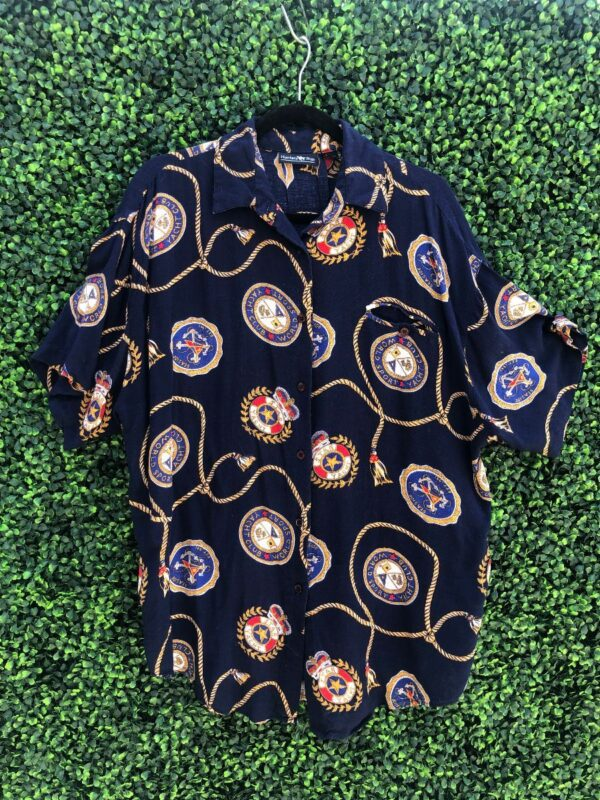 product details: NAUTICAL YACHT CLUB RAYON SHORT SLEEVE BUTTON UP SHIRT photo