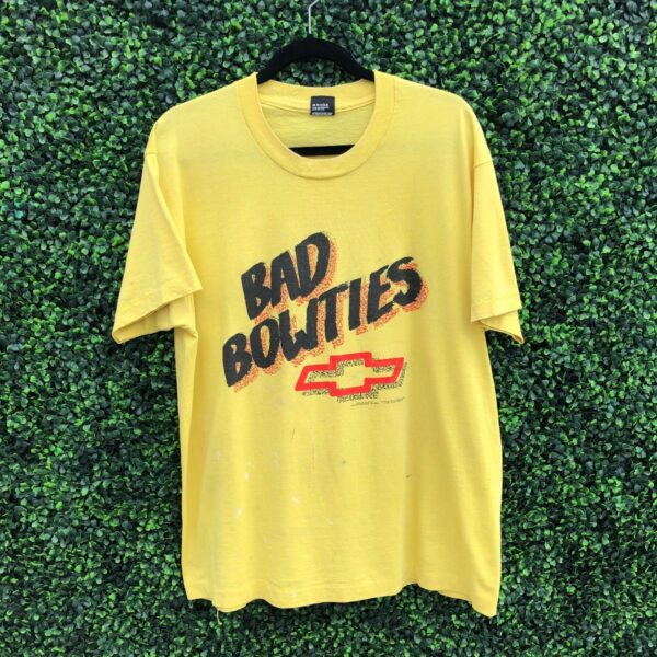 product details: RADICAL BAD BOWTIES CHEVY LOGO GRAPHIC SINGLE STITCH T-SHIRT photo