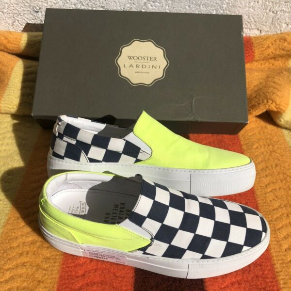 product details: GREATS SLIP ON CANVAS SNEAKERS WITH SOLID FRONT CHECKERED SIDES MADE IN ITALY photo