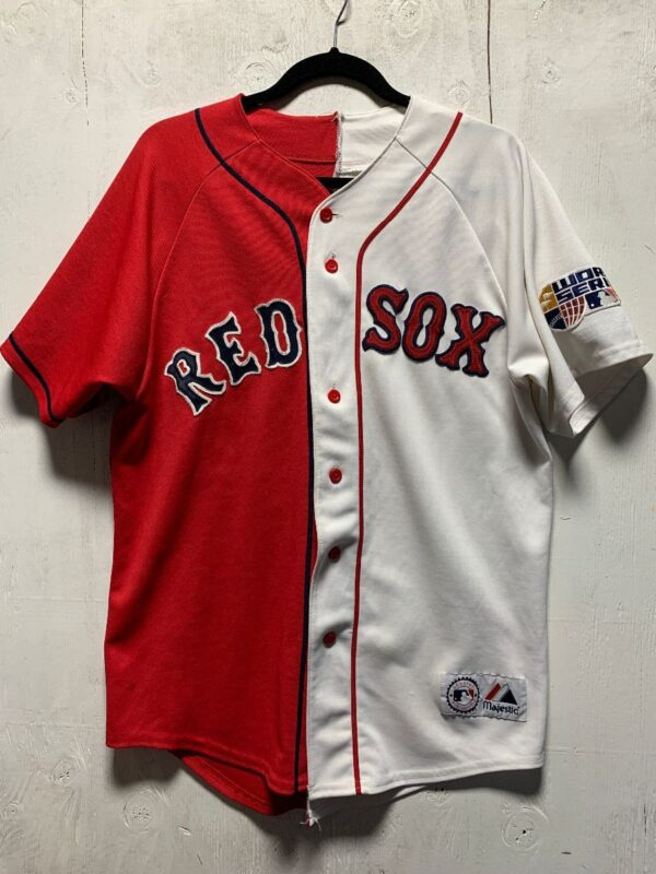 product details: RECONSTRUCTED HALFIE MLB BOSTON REDSOX DUAL COLOR RE-PURPOSED BASEBALL JERSEY photo