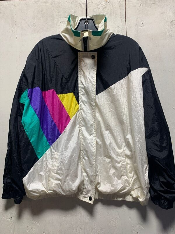 product details: COLORBLOCK LINE GRAPH COLLARED ZIP-UP WINDBREAKER W/ BUTTON-CLOSURE photo