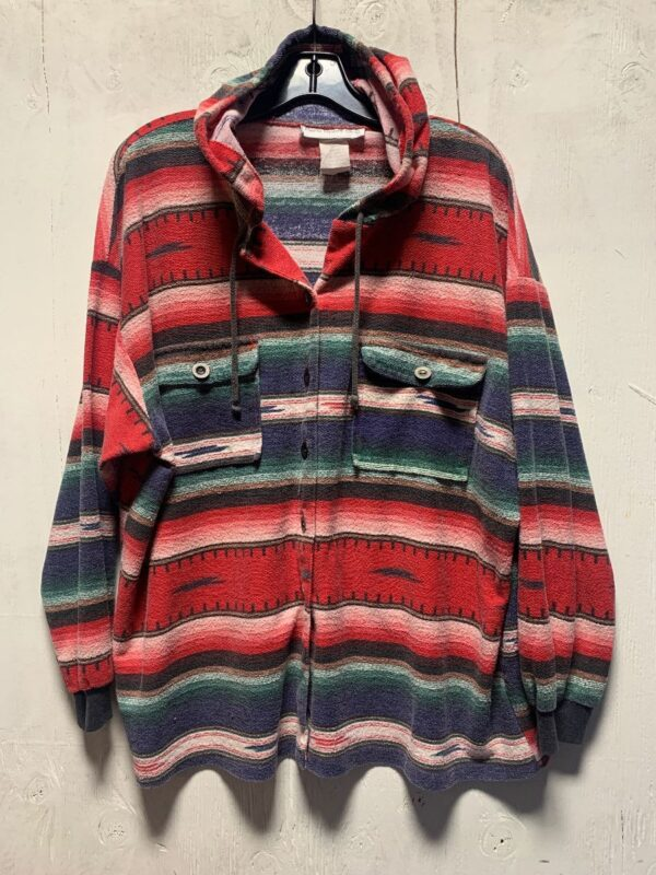 product details: SUPERSOFT WESTERN STYLE KNIT LONG-SLEEVE BUTTON-UP HOODED BUTTON DOWN POCKETS photo