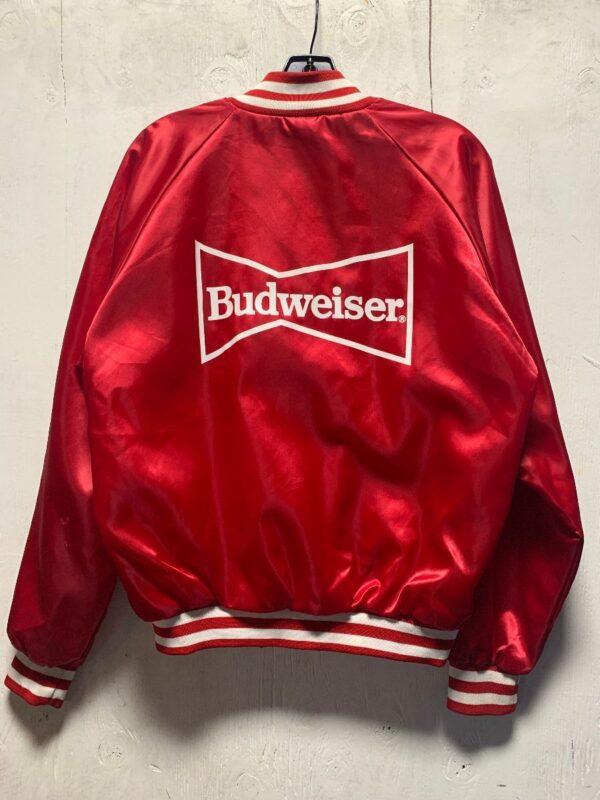 product details: RAD RETRO BUDWEISER LOGO SNAP UP BASEBALL JACKET STRIPES COLLAR & CUFFS photo