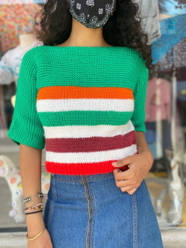 product details: ADORABLE KNIT HORIZONTAL BLOCK STRIPE SWEATER WITH 3/4 SLEEVES photo