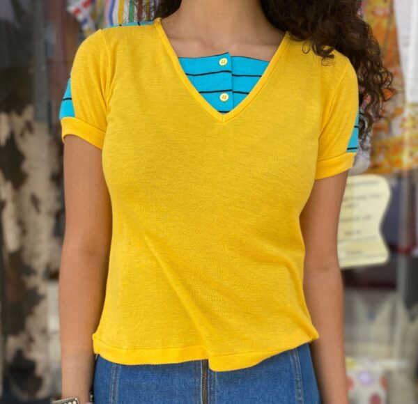 product details: SUPER ADORABLE SHORT SLEEVE BABY DOLL COLOR BLOCK TEE WITH STRIPES AND FAUX UNDERSHIRT NECKLINE photo
