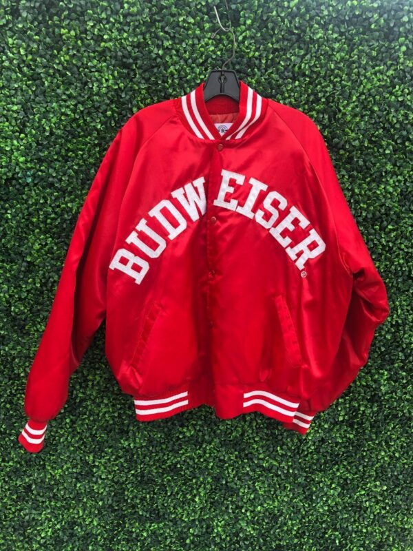 product details: BUDWEISER SPELLOUT SATIN BUTTON UP JACKET photo