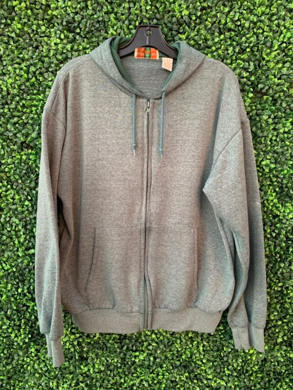 product details: HEATHER FOREST GREEN ZIPUP HOODED SWEATSHIRT photo