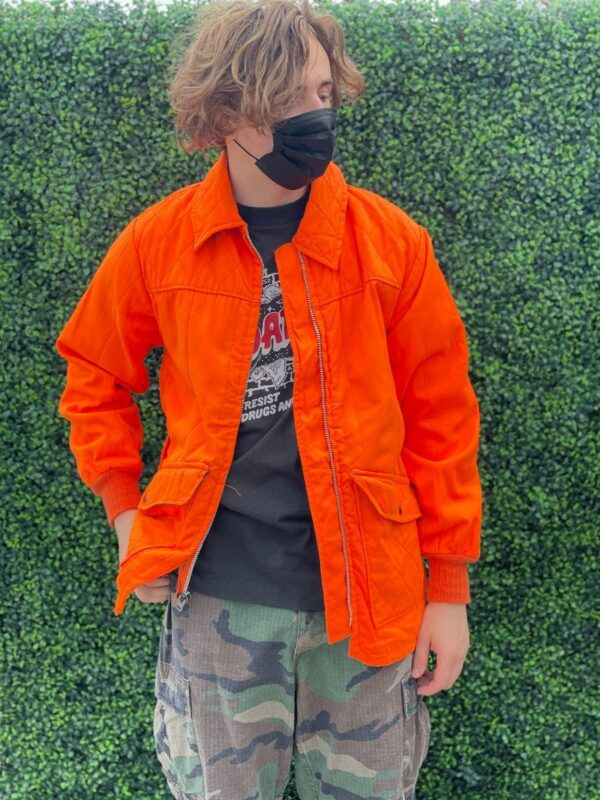 product details: NEON DAYGLOW ZIP-UP COLLARED NYLON LINED HUNTING JACKET WITH SIDE POCKETS & SIDE ZIP photo