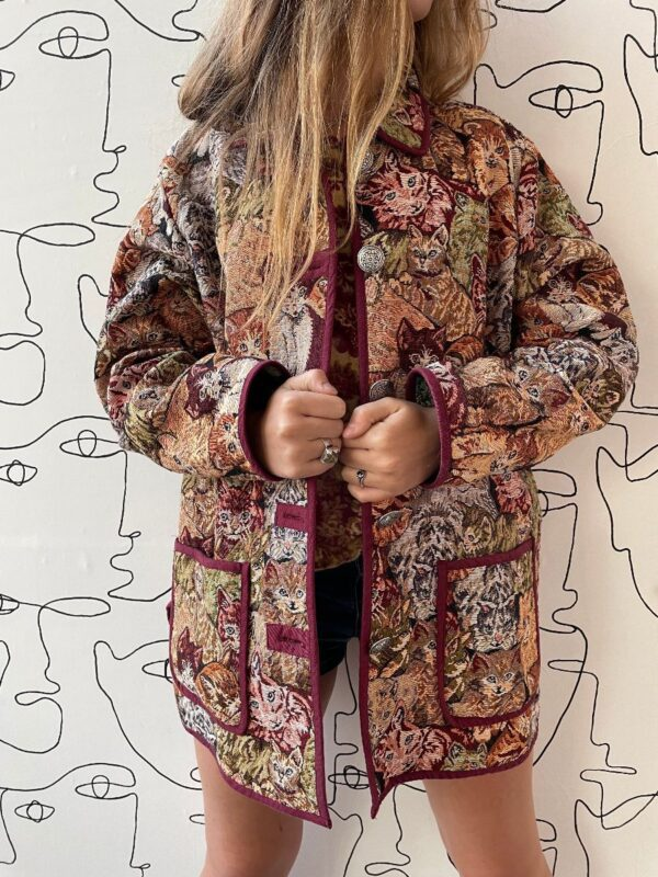 product details: ALL OVER CATS EMBROIDERED JACQUARD OVERCOAT W/ POCKETS photo