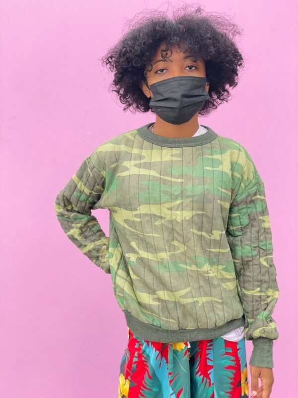 product details: AS-IS COOL QUILTED CAMOUFLAGE CREWNECK SWEATSHIRT SMALL FIT photo
