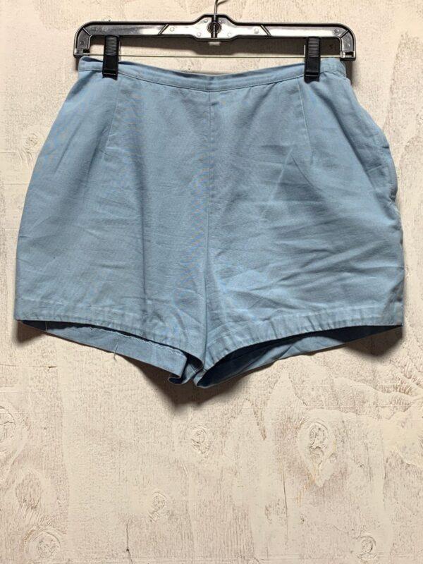 product details: 1960S BABY BLUE COTTON SHORTS W/ SIDE ZIPPER photo