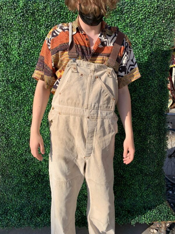 product details: AWESOME DISTRESSED OVERALLS WITH MULTI POCKETS AND CANVAS SHOULDER STRAPS photo