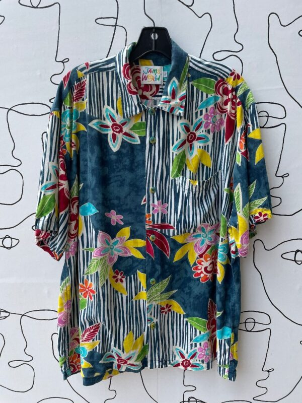 product details: 1990S FLORAL VERTICAL STRIPE MULTI PRINT SHORT SLEEVE BUTTON DOWN COLLARED RAYON SHIRT photo