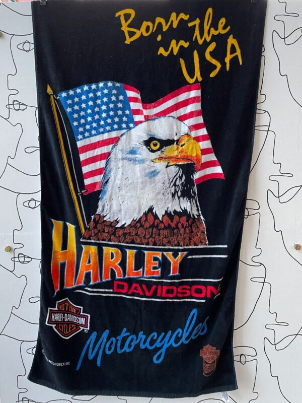 product details: BORN IN THE USA HARLEY DAVIDSON EAGLE FLAG TOWEL photo