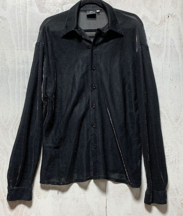 product details: AWESOME 1990S METALLIC SHEER C LONG-SLEEVE BUTTON-UP COLLARED BLOUSE photo