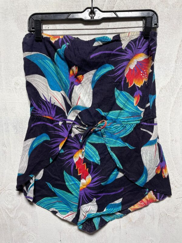 product details: VINTAGE 1980S COTTON HAWAIIAN PRINT STRAPLESS ROMPER AS-IS photo