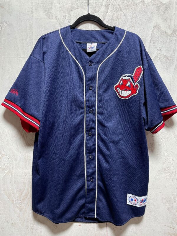 product details: MLB CLEVELAND INDIANS CHIEF WAHOO #9 BUTTON UP BASEBALL JERSEY photo