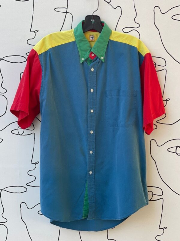 product details: AS IS - COLOR BLOCK SHORT SLEEVE BUTTON UP SHIRT photo