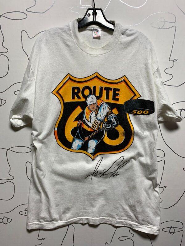 product details: NHL 1995 MARIO LEMIEUX 500TH GOAL ROUTE 66 PITTSBURGH PENGUINS GRAPHIC T-SHIRT photo
